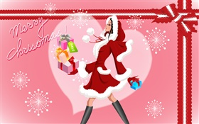 Merry Christmas, vector fashion girl, gifts HD wallpaper