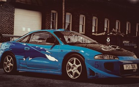 Mitsubishi eclipse, blue race car HD wallpaper
