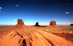 Monument Valley, blue sky, rocks HD wallpaper