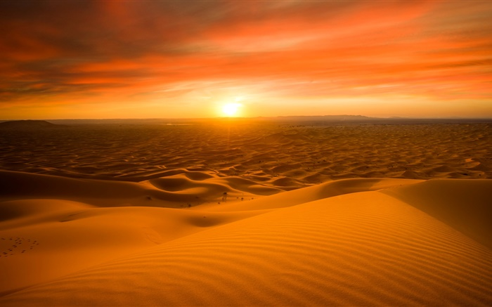 Morocco, Sahara desert, sand, sunset Wallpapers Pictures Photos Images