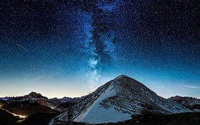Mountain, valley, stars, night HD wallpaper