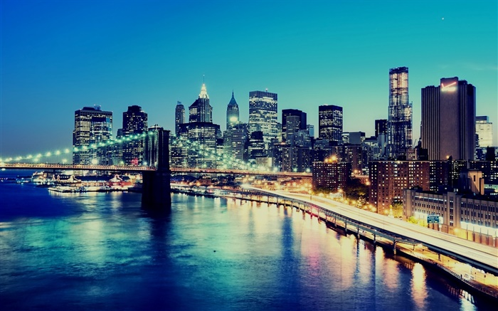 New York, USA, night, city lights, skyscrapers, bay Wallpapers Pictures Photos Images