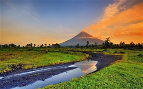Philippines, Mayon, volcano, mountains, grass, creek HD wallpaper