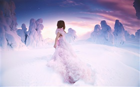 Pink dress girl in winter, thick snow HD wallpaper