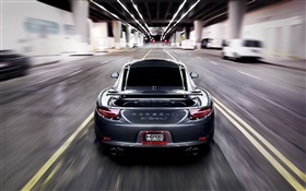 Porsche 911 Carrera S grey car, speed, blur HD wallpaper
