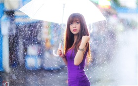 Purple dress Asian girl, umbrella, rain HD wallpaper