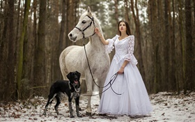 Retro style, white dress girl, horse, dog, forest HD wallpaper