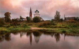 Russia, temple, village, pond, grass, trees, clouds HD wallpaper