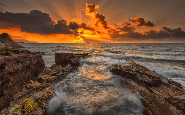 Sea, rocks, coast, sunset, dusk, clouds Wallpapers Pictures Photos Images