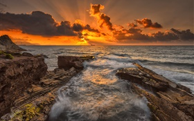 Sea, rocks, coast, sunset, dusk, clouds HD wallpaper