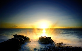 Sea, stones, beach, sunrise, foam, water splash HD wallpaper