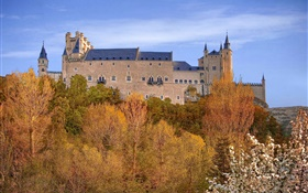 Spain, Segovia Alcazar, Palace, trees, sky, autumn HD wallpaper