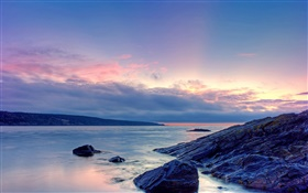 Sunset, sea, shore, rocks, sky, clouds HD wallpaper
