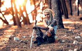 Tattoo girl, sword, weapon, trees HD wallpaper