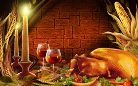 Thanksgiving, chicken, candles, wine glasses HD wallpaper