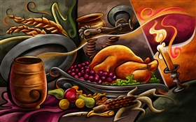 Thanksgiving theme painting, chicken, fruit, candles HD wallpaper