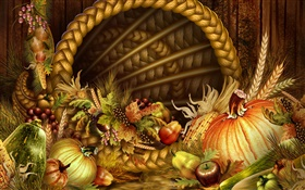 Thanksgiving theme, vegetables and fruits HD wallpaper