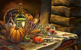 Thanksgiving, watercolor, pumpkin, grapes, wine, apples, wheat HD wallpaper