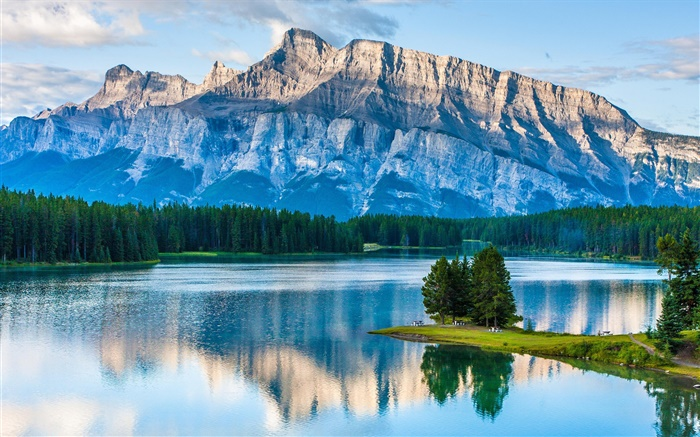 Two Jack Lake, Banff National Park, Alberta, Canada, mountains, trees Wallpapers Pictures Photos Images