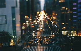 United States, New York, night, buildings, streets, cars, lights, bokeh HD wallpaper