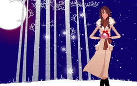 Vector illustration, girl, winter, snow, trees, gifts HD wallpaper