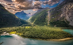 Vikane, Norway, valley, mountains, lake, clouds
