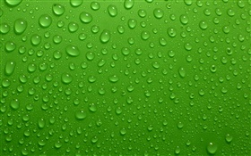 Water drops, green background HD wallpaper