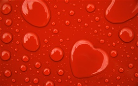 Water drops, love hearts, red background HD wallpaper
