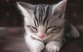 Watercolor painting, cute kitten sleeping HD wallpaper