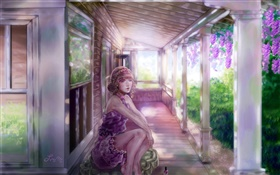 Watercolor painting, girl, house, grape HD wallpaper