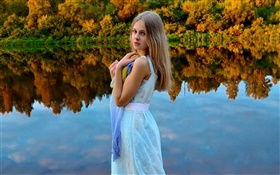 White dress girl, blonde, eyes, lake, forest, water reflection