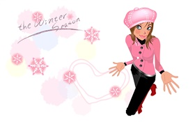 Winter season, vector girl HD wallpaper