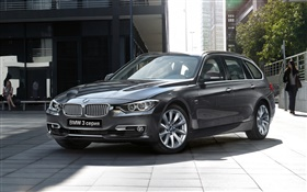 2015 BMW 3 series gray car front view HD wallpaper