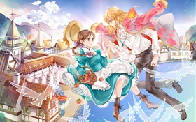 Anime pictures, girl and boy, flying, town, bay, birds HD wallpaper