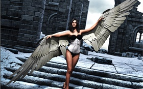 Art rendering, fantasy girl, angel, wings, stairs HD wallpaper