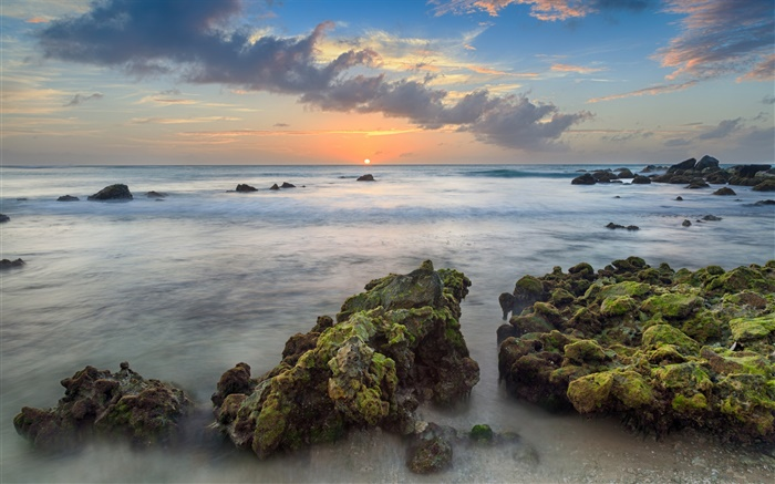 Aruba, Caribbean, Arashi Bay, stones, sea, coast, sunset, clouds Wallpapers Pictures Photos Images