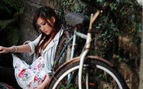 Asian girl sit at the bike side HD wallpaper