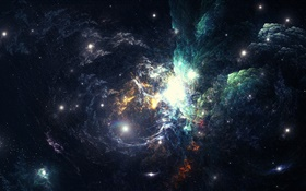 Beautiful space, nebula, galaxy HD wallpaper