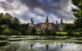 Belgium, Ooidonk Castle, pond, trees, clouds, dusk HD wallpaper