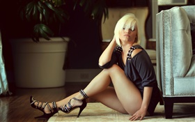Blonde girl sitting on the floor, legs HD wallpaper