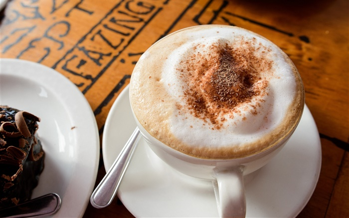 Cappuccino coffee, foam, chocolate, drink, cup, saucer Wallpapers Pictures Photos Images