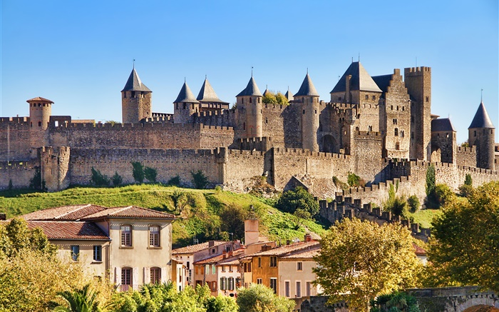 Castle of Carcassonne, France, city, houses Wallpapers Pictures Photos Images