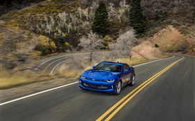 Chevrolet Camaro blue supercar, road, speed HD wallpaper