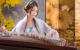 Chinese girl playing zither HD wallpaper