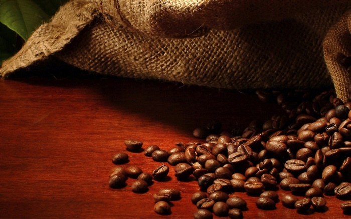 Coffee beans, bag, leaves Wallpapers Pictures Photos Images