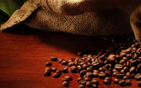 Coffee beans, bag, leaves HD wallpaper