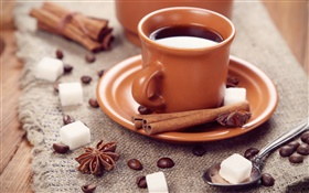 Coffee beans, cup, anise, cinnamon, sugar HD wallpaper