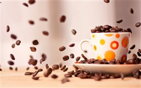 Coffee beans falling down, cup, saucer HD wallpaper