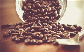 Coffee beans, spoon, drink, glass cup HD wallpaper