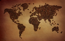 Coffee beans, world map, continent, creative HD wallpaper